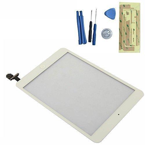 FLY-SHOP-Touch Screen Digitizer Vetro Assemblata con Tasto home e IC Chip per ipad mini, ipad mini2 + Kit di Riparazione- Bianco