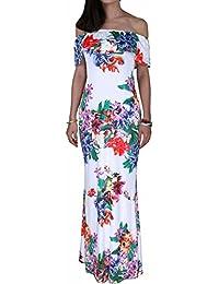 BIUBIU Women's Floral Off Shoulder Ruffle Bodycon Long Party Maxi Dress UK 6-18