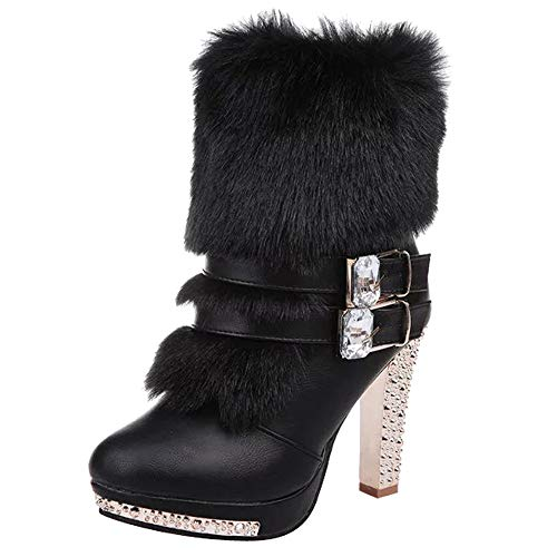 Bazhahei donna scarpa,stivali martin tacco alto/stivali centrali,invernali/autunno scarpe con tacco alto con tacco medio in pelle martellata e strass,scarpe moda da donna