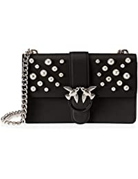 Pinko Love Leather Pearls Tracolla Vitello Vintage+perle - Shoppers y bolsos de hombro Mujer
