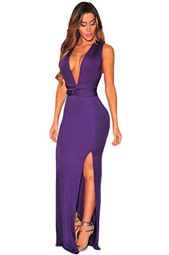 meinice Viola fessura Multi indossare con angoli maxi dress Purple Small