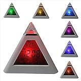 Skitic 7 LED Farbwechsel Pyramide Digital LCD Wecker Triangle Thermometer Bunte Hintergrundbeleuchtung LED-Schreibtisch Taktgeber LED Desk Clock mit Temperatur, Datum, Uhrzeit-Anzeige