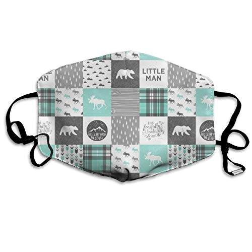 Little Man - Fearfully And Wonderfully Made - Patchwork Woodland Quilt Top (light Teal) Anti Dust Mask Anti Pollution Washable Reusable Mouth Masks -