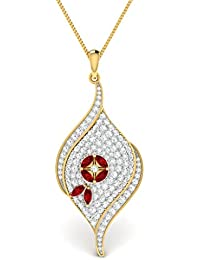 Vijisan 4.08Ct. CZ 925 Sterling Silver Gold Rhodium Plated Leaf Shape Ruby Pendant For Women