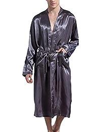 MISSMAOM Hombre Casual Vintage Ropa de Dormir Retro Kimono Robe Bata Albornoces Pijamas