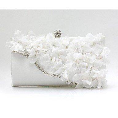 Frauen Abend Tasche Chiffon alle Jahreszeiten Hochzeit Event / Party Shopping Casual Formal Baguette Blume Spange LockBlack Silber Fuchsia Ruby White