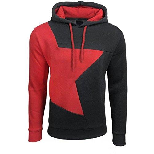 Sannysis Herren Hoodie Warm Hooded Sweatshirt Jacke Pullover (L, dunkelgrau)