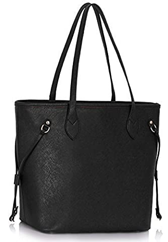 Womens Designer Handbags Large Ladies Shopper Bag Faux Leather Shoulder Tote Bag (Black Tote)