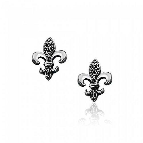 Im Antiken Stil Mit Zwei Tönen Oxidiert Fleur De Lis Symbol Ohrstecker Für Damen 925 Sterling Silber 14Mm - Gras Lis-mardi De Fleur