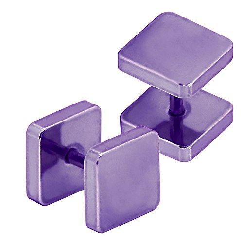 tumundo 2 Faux Plugs Carré Fakeplug Fake Tunnel Piercing Clous d'Oreille 8 mm Acier Or Argent Rose Vert Bleu Arc-en-ciel lila / lilas / purple