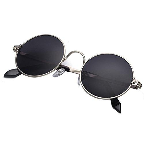YaNanHome Runde Rahmen Prince Spiegel Runde Sonnenbrille Männer und Frauen Retro Sonnenbrille Herren UV-Schutz Sonnenbrille (Color : Black)