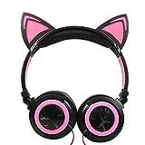 Lecc Cat Ear Headphones Auriculares estéreo de 3.5mm con Orejas Brillantes para niños Plegable Rotar Ear Stereo Headphone para niñas Cosplay Compatible con iPhone Android,E