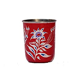 eCraftIndia Handpainted Decorative Steel Glass - 107 Red Color