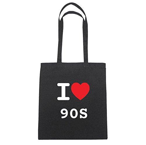 JOllify 90s di cotone felpato b6057 schwarz: New York, London, Paris, Tokyo schwarz: I love - Ich liebe