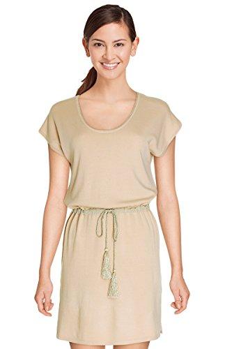 Damen Pullover Kleid Mesh, halblang Mallory Senior–kurzärmlig–xl16090–erhältlich in 4Farben: Marineblau Beige Ecru Rosa Gr. M/L, beige (Kleid Metallic Knit)