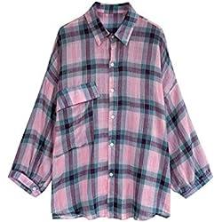 Blusas Y Camisas para Mujer Camisa A Cuadros Suelta @Rosa_3XL