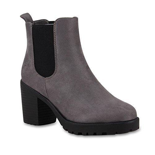 Stylische Damen Boots Stiefeletten Chelsea Boots Knöchelhohe Stiefel Zipper Leder-Optik Booties Schuhe 110406 Grau Schwarz 37 Flandell