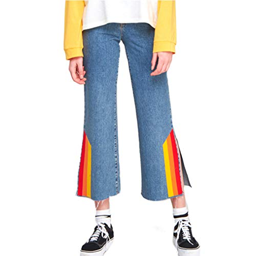 XIANGLIOOD Frauen Wide Leg Rainbow Stripes Jeans Straight Pants mit geteiltem Saum - Schlanker Farbe Denim Capri