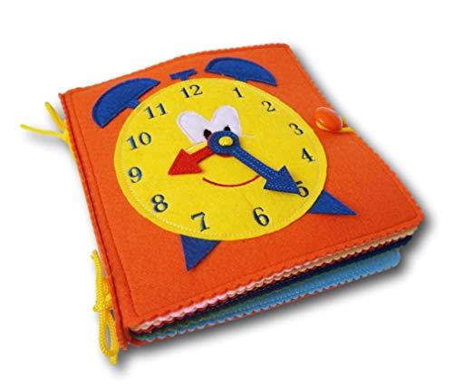 Quiet Book-Libro blando de fieltro para el desarrollo, aprendizaje y estimulación de los niños pequeños.Libro de actividades infantil-juguete sensorial y educativo.