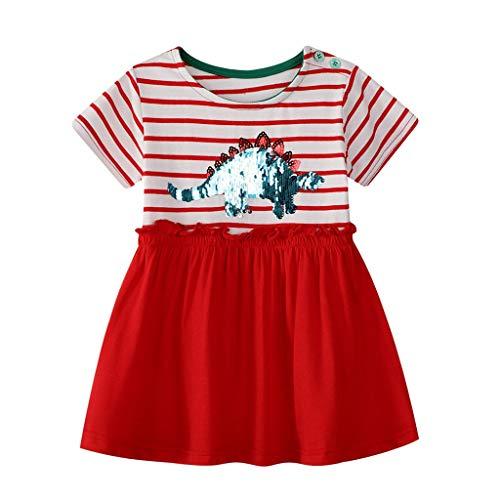 wuayi  Baby Mädchen Striped Dinosaur Printed Kurzarm Kleid Freizeitkleidung Outfits Kleidung 18 Monate - 7 Jahre (4t Harem Hose)