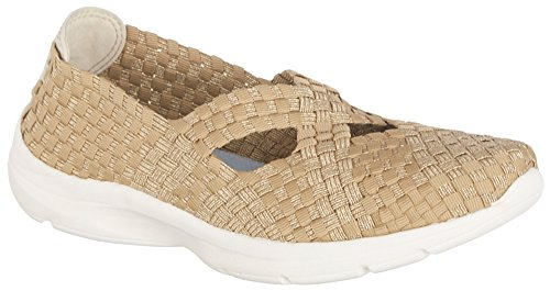Easy Spirit Quest Womens Slip On Sneakers Light Gold/Light Natural Fabric 6