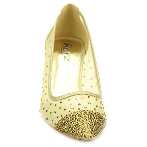 Aarz Femmes Mesdames Soirée Cour Diamante Low Heel Sandal mariage Prom Party Chaussures de mariée Taille (Or, Argent, Noir, Champagne) Or