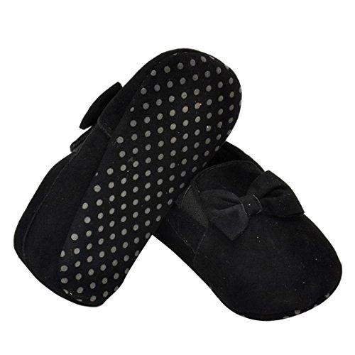 Saingace® Krabbelschuhe,0 ~ 18 Monate Baby Kinder Elastic Band Prewalker Bowknot Kleinkind weiche Sohle Schuhe Schwarz