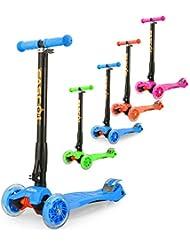 Fascol® Patinete de 3 ruedas con diseño scooter para niños de 3-15 años de edad + rodillera, Azul