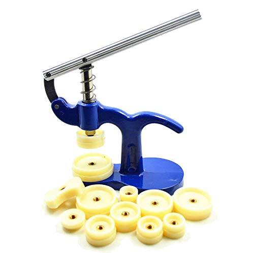 Tebery Uhr Presse, Uhrwerkzeug Uhr Einpresswerkzeug Uhrenschließer Gehäuseschließer Uhr Reparatur Werkzeug mit 12 Druckplatten Kunststoffeinsätze(blau)