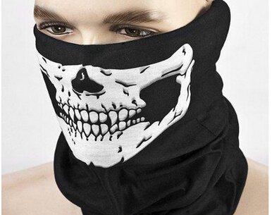 Demarkt Schädel Schal Schlauch Maske Sturmmaske Schlauchtuch Halstuch mit Totenkopf Polyester schwarz 25 x 50 cm