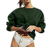 TianWlio Hoodie Pullover Damen Sweatshirt Langarmshirt Bluse Kapuzenpullover Frauen Herbst Langarm O-Ausschnitt Solid Sweatshirt Pullover Top Bluse