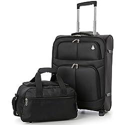 Aerolite 55x40x20 Ryanair Höchstbetrag 2 Rollen 42L Leichtgewicht Koffer Bordgepäck Kabinentrolley, erweiterbar zu Einem 55x40x23 48L Handgepäck + 35x20x20 Handreisegepäck (Gepäck-Set), Schwarz