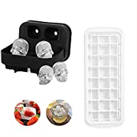 2 Pack 24 Ice Cubes Molds Easy Release Ice Trays with Spill-Resistant Removable Cover,3D Skull Flexible Silicone Ice Cube Mold Tray for Whiskey, Cocktail, Stackable Flexible Safe Ice Cube Molds