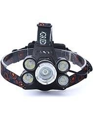 Longra ♥☞35000LM 5x XM-L T6 LED faro linterna linterna cabeza lámpara de luz 18650 (Faro + cable de carga del USB + carga del coche +2 X 18650 batería recargable)
