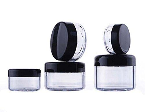12 Stücke 5 ml Leere Nachfüllbare Reise Transparente Plastikdose Topf mit Schwarzen Schraubverschluss Make-Up Gesichtscreme Lippenbalsam Lidschatten Aufbewahrungsbox Kosmetische Probenbehälter (5g)