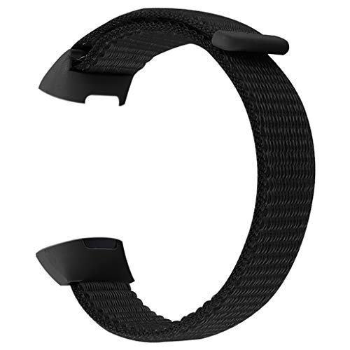 Für Fitbit Charge 3 Armband,MuSheng Großer Ersatz Soft Nylon Sport Loop Wrist Band Strap Armbänder Bracelet für Fitbit Charge 3 Armband (Schwarz) -