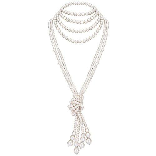 kette Damen Lange Imitation Perlen Kette Great Gatsby Stil Schmuck Knoten Perlenkette 125 cm Fasching Kostüm Zubehör (Weiß 3) ()