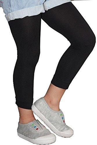 Legging enfant opaque uni, collant sans pied pour fille (140 - 146 cm, Noir)