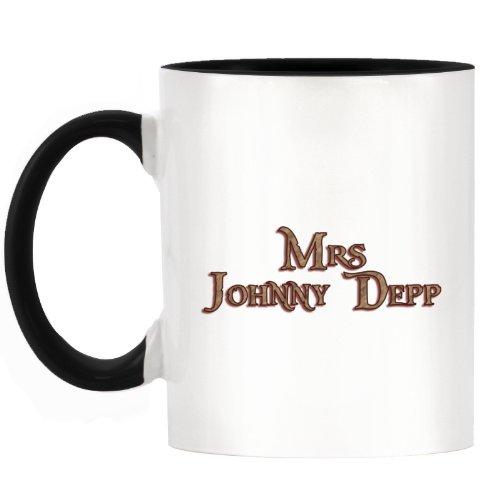 Zweifarbigen Tasse, Aufdruck: Mrs Johnny Depp, Design mit schwarzem Griff und schwarzer Innenseite