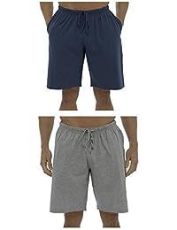 Hommes 2 Paquet de Uni Riche En Coton Shorts Salon / Bas De Pyjama