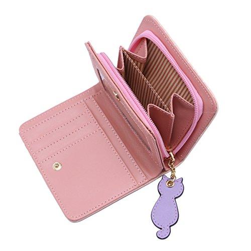 Damara ragazza cute cat breve Bifold Portafoglio Porta Carte di Credito con cerniera Monete borsa Green