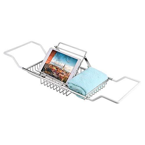 Garosa Verstellbarer Badewannenständer-Aufbewahrungshalter, verchromt für Tablet, Smartphone, Wein, Buchhalter -