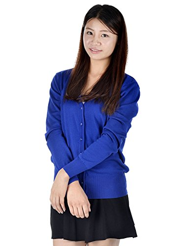 Elite Classic Cardigan (Simplicity Misses Cute Casual Cardigan with Button Up Front, Long Sleeves, Blue)