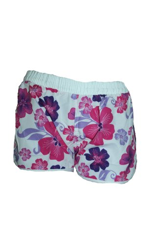 Damen Badeshorts NEMO viele FARBEN. Hot Pants, Hipster mit Blumen Muster BG940 Größen: Gr.32/S 34/M 36/L 38/XL 40/XXL Weiß