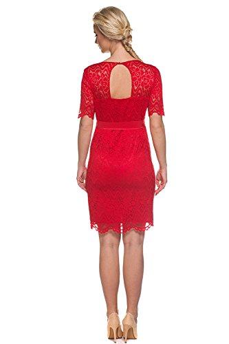 My Tummy Mutterschafts Kleid Umstands Kleid Carmen rot Spitze - 2
