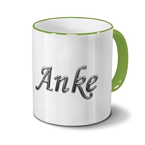 Tasse mit Namen Anke - Motiv Chrom-Schriftzug - Namenstasse, Kaffeebecher, Mug, Becher, Kaffeetasse - Farbe Grün