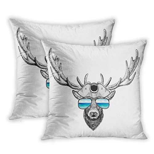 Nekkzi Cushion Covers Set of Two Print Deer Wearing Pirate Hat Cocked Tricorn Sailor Seaman Mariner Seafarer Summer Sofa Home Decorative Throw Pillow Cover 18x18 Inch Pillowcase Hidden Zipper (Pirate Velvet Hat)