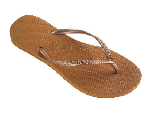 Havaianas  Havaianas Slim Graphic, Damen Zehentrenner, braun - kupfer - Größe: 1-2 UK
