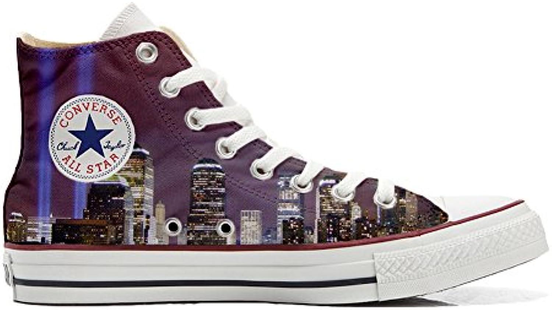 Scarpe Converse all Star Personalizzate (Prodotto Artigianali) Veduta di New York | Design lussureggiante  | Uomini/Donne Scarpa