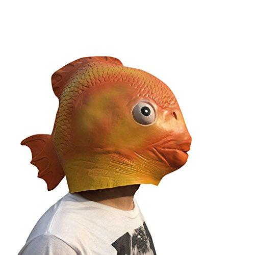 thematys Gold-Fisch Fish Maske - perfekt für Fasching, Karneval & Halloween - Kostüm für Erwachsene - Latex, Unisex ()